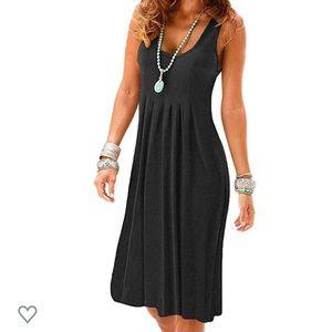 Casual, sleeveless, pleated sundress